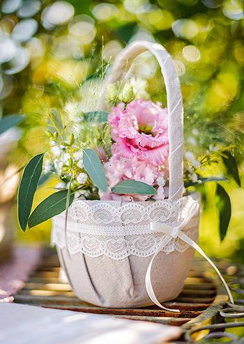Panier lin decoration florale