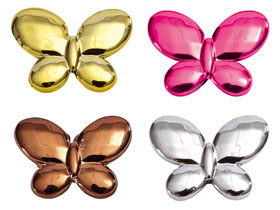 Papillons Métalliques Laqués Brillants Décoration Chocolat Argent Doré