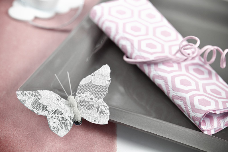 Papillon sur pince en dentelle