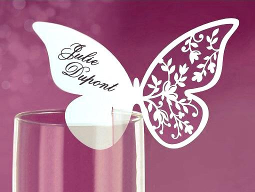 Lot 10 papillons ajour s luxe accroche verre motif floral - Marque place coeur pied de verre ...