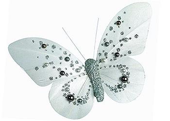 Papillon décoration gris perle