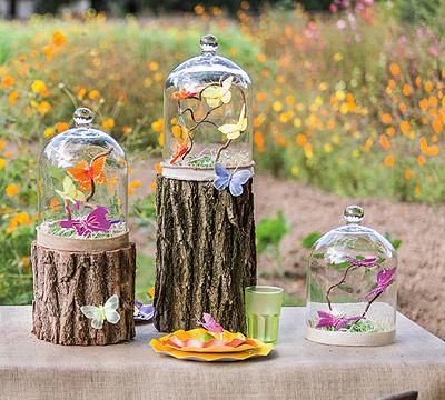 Papillons sous cloche en verre déco