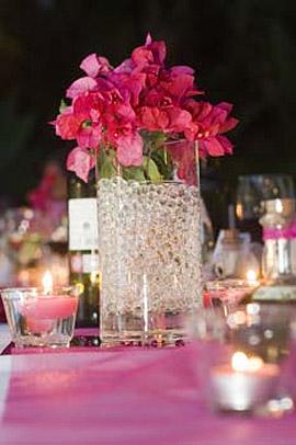 Perles d'Eau dans Vase Centre de Table Mariage