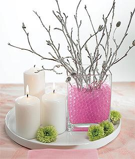 Perles d'Eau Décoration Florale Fleurs Fuchsia