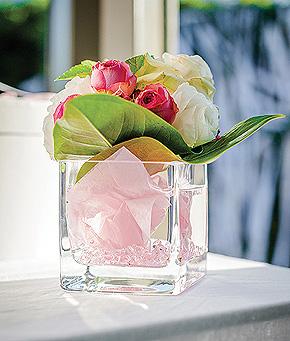 Pot Cube Fleur Carré Verre Epais Mariage Transparent