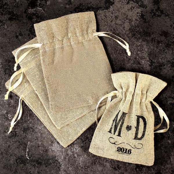 Lot de 12 petits sacs en lin uni avec cordelette nos contenants pour dragees ou bonbons - Petit sac en papier pour mariage ...