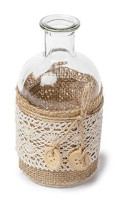 Petite Bouteille Vase Vintage Jute Dentelle Transparent Beige - Taupe