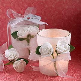 Photophore Verre Parchemin Blanc Petites Roses