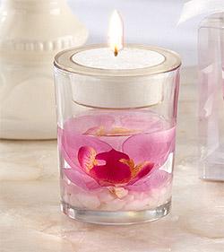 Photophore Verre Bougie Gelée Orchidée Rose