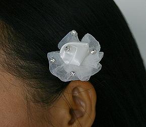 Pic Cheveux avec Fleur Tulle et Strass