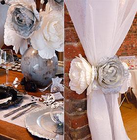 Pivoine Géante Décoration Mariage Blanc Gris