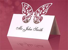 Marque Place Chevalet Carton Découpé Papillon x10 Blanc