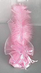 Pochon dragées plume rose