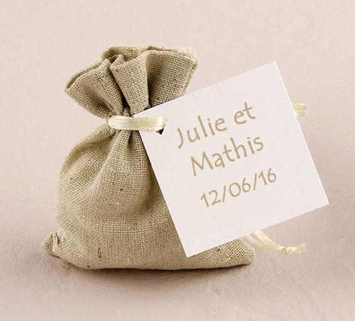 6 petits sacs en lin naturel uni nos contenants pour - Petit sac en papier pour mariage ...