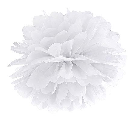 Boule Pompon Papier de Soie Mariage 25cm Blanc