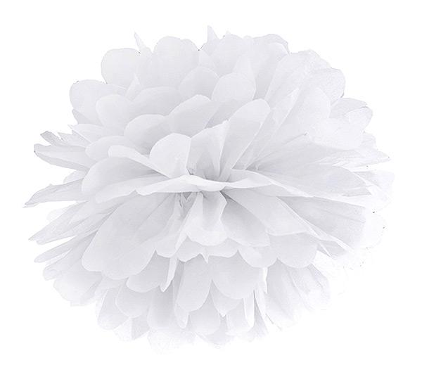 Boule Pompon Papier de Soie 35cm pas cher Blanc