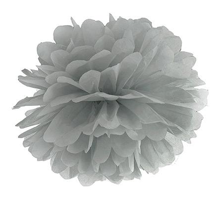 Boule Pompon Papier de Soie Mariage 25cm Gris