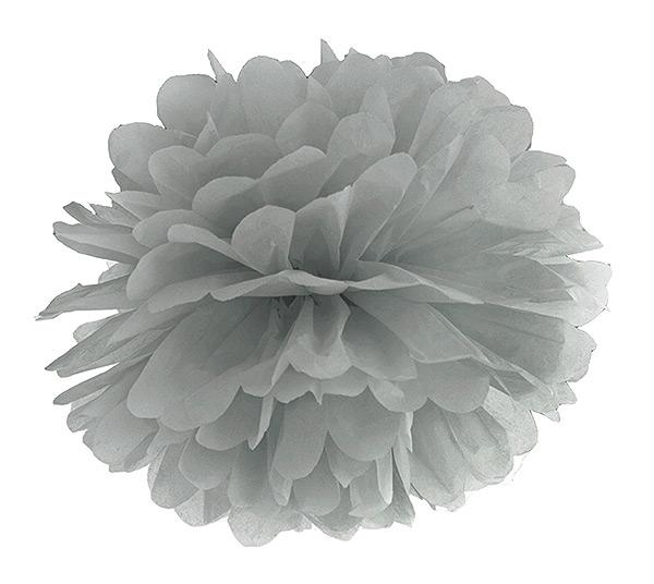 Boule Pompon Papier de Soie 35cm pas cher Gris