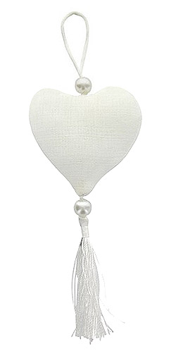 Pompon en lin coeur avec perles