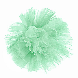 Boules pompon tulle 30 cm vert d'eau