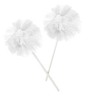 Pompons Tulle sur Pic Décoration Blanc