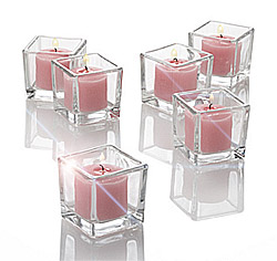 Photophore Carré Verre Epais Luxe Rose Transparent