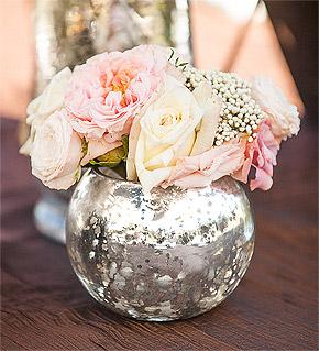 Pot Boule Fleurs Argenté