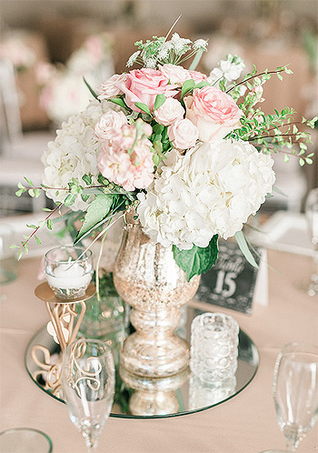 Rond miroir centre de table fleurs
