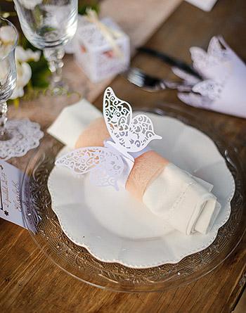 Rond de serviettes papillon dentelle