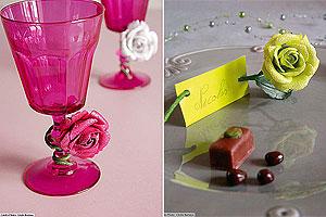 Roses Artificielles Pailletées Décoration Mariage Blanc Fuchsia Vert Anis