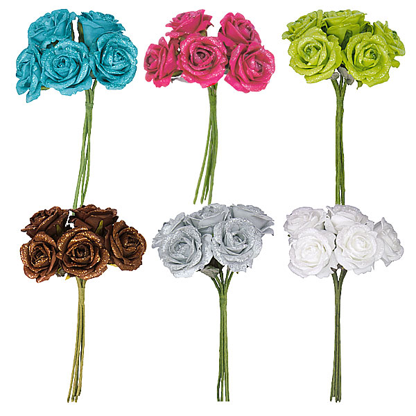 Lot De 5 Roses Pailletees Sur Tige Decoration De Table