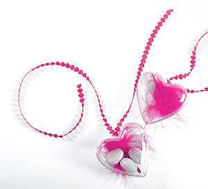 Coeur Contenant Dragées Ruban Petits Coeurs
