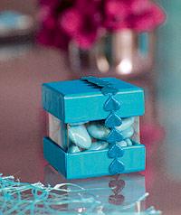 Boite Dragées Turquoise Ruban Petits Coeurs