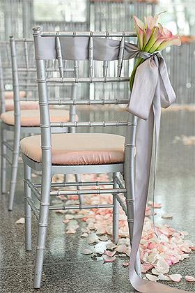 Décoration de Chaise Ruban Satin Gris Mariage