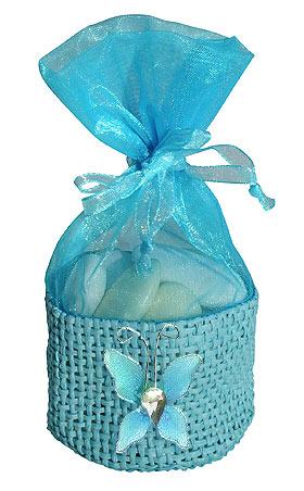 Sac Dragées avec Petit Papillon Organza Turquoise
