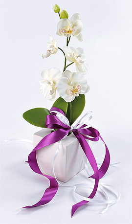Décoration Florale Orchidée Ruban Satin