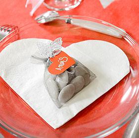 20 Serviettes Papier Forme COEUR Mariage Blanc