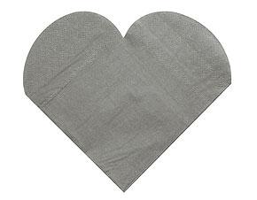 20 Serviettes Papier Forme COEUR Mariage Gris