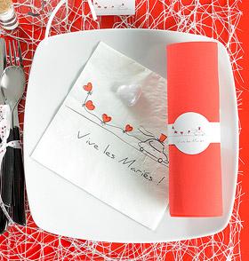 Serviettes Papier Vive les Mariés Coeurs Rouge Rouge Blanc