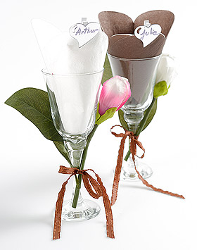 20 Serviettes Papier Forme COEUR Mariage Blanc Chocolat