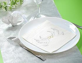 Serviettes Papier Colombes Coeurs Mariage Blanc