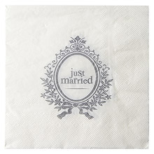 Serviettes de Table Just Married Blanc