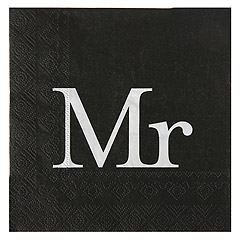Serviettes de Table Mr Mariage Noir