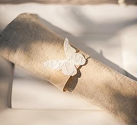 Papillon Jute et Dentelle Rond de Serviette