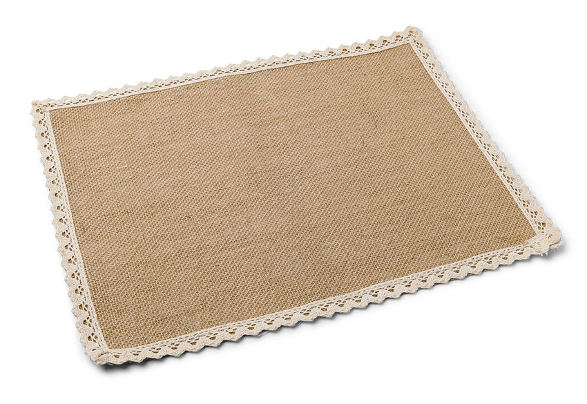 Set de table rectangle jute et dentelle noel for Dimensions set de table