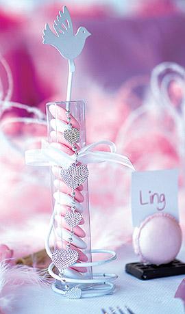 Eprouvette Dragées Rose et Blanc