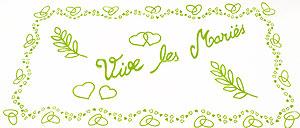 Plage Arrière Voiture Tulle Vive les Mariés Vert Anis