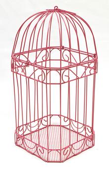 Cage à Oiseaux Urne Métal Fuchsia