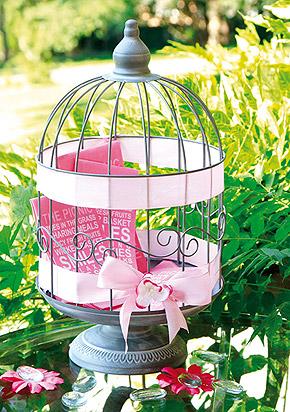 Urne cage � oiseaux grise vintage