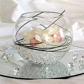 Vase boule avec perles d'eau transparentes